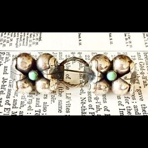 Antique Sterling silver Turquoise Brooch Mexico
